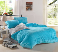 Light Blue And Silver Gray Coral Fleece Bedding Teen Bedding