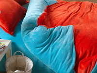 Orange And Light Blue Coral Fleece Bedding Teen Bedding
