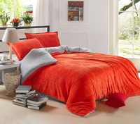 Orange And Silver Gray Coral Fleece Bedding Teen Bedding