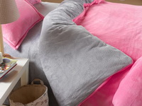 Pink And Silver Gray Coral Fleece Bedding Teen Bedding