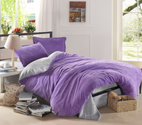 Purple And Silver Gray Coral Fleece Bedding Teen Bedding