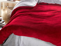 Wine Red And Silver Gray Coral Fleece Bedding Teen Bedding