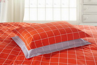 Modern Grids Orange And Gray Teen Bedding Duvet Cover Set