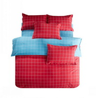 Modern Grids Red And Blue Teen Bedding Duvet Cover Set