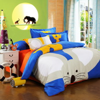 The Timid Mouse Blue Cartoon Animals Bedding Kids Bedding Teen Bedding