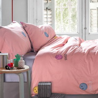 Smiling Face Pink Bedding Set Teen Bedding Kids Bedding Duvet Cover Pillow Sham Flat Sheet Gift Idea