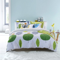 Green Plants White Bedding Teen Bedding Kids Bedding Modern Bedding Gift Idea